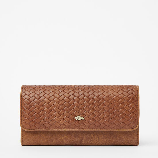 Roots-Leather New Arrivals-Medium Trifold Clutch Woven-Africa-A