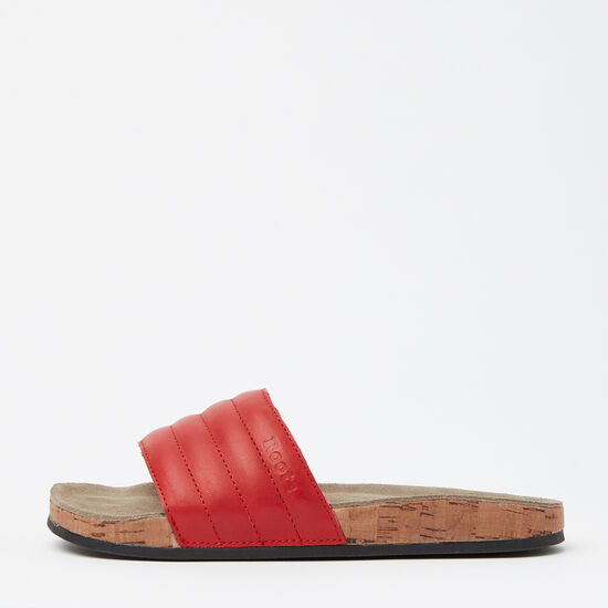 Roots-Sale Women's-Womens Roots Slide Leather-Red-A