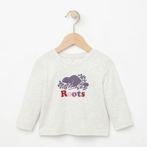 Roots-Kids T-shirts-Baby Cooper Beaver T-shirt-White Grey Mix-A
