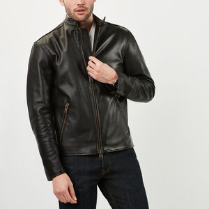 Roots-Leather Men's Leather Jackets-Keith Jacket-Black-A