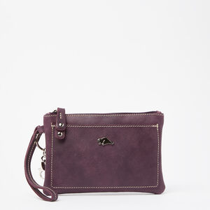 Roots-Women Leather Accessories-Everyday Clutch Tribe-Deep Purple-A