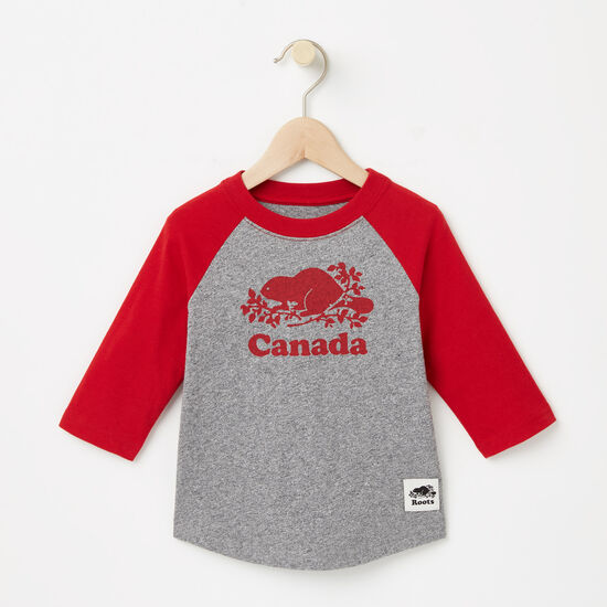 Roots-Kids T-shirts-Toddler Canada Baseball T-shirt-Sage Red-A