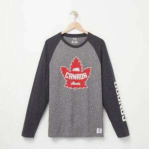 Roots-Men Canada Collection By Roots™-Heritage Long Sleeve T-shirt-Salt & Pepper-A