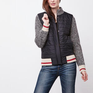 Roots-Women Jackets-Quilted Cabin Jacket-Grey Oat Mix-A