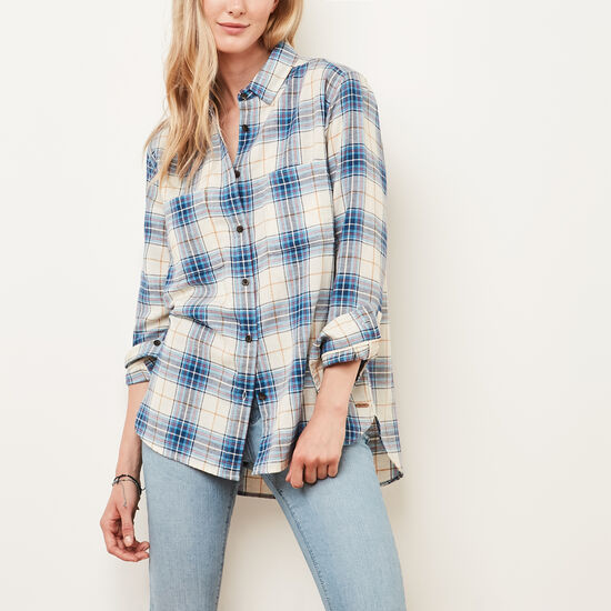Roots-Women Bestsellers-Mapleridge Shirt-Anchor Lake Blue-A