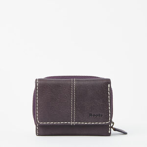 Roots-Leather Wallets-Small Trifold Clutch Tribe-Wineberry-A