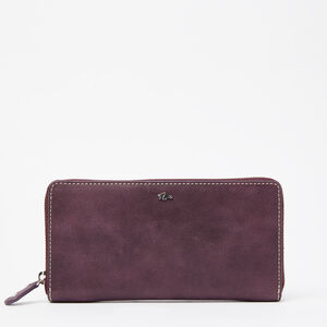 Roots-Leather Wallets-Zip Around Wallet Tribe-Deep Purple-A