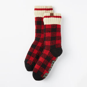 Roots-Kids Accessories-Kids Fireside Lounge Sock-Lodge Red-A