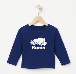 Roots-Kids T-shirts-Baby Cooper Beaver T-shirt-Blue Depths-A