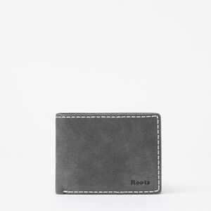 Roots-Leather Men's Wallets-Mens Slimfold Side Flap Tribe-Charcoal-A