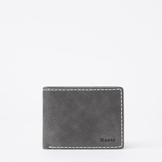 Roots-Men Wallets-Mens Slimfold Side Flap Tribe-Charcoal-A