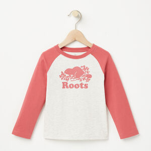 Roots-Kids T-shirts-Toddler Cooper Baseball Top-White Grey Mix-A