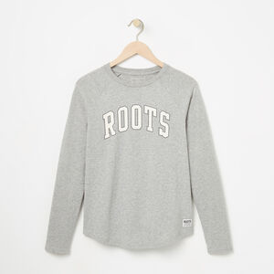 Roots-Women Tops-Arch Roots Jersey Long Sleeve-Grey Mix-A