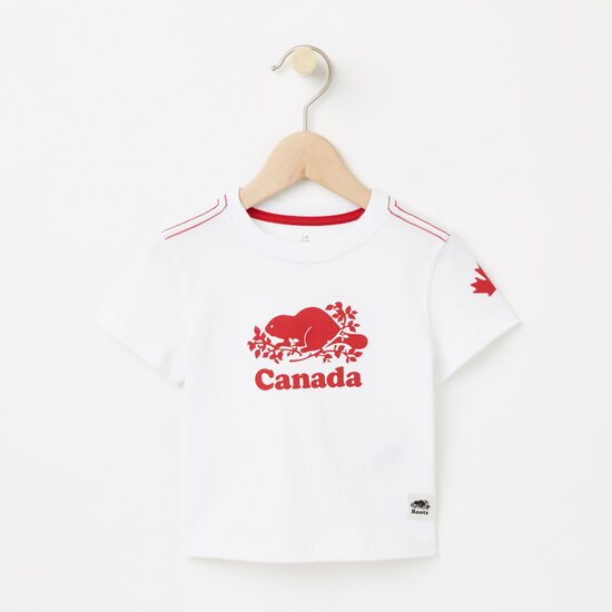 Roots-Enfants Collection Canada-Bébés T-shirt Canada Cuivre-Blanc-A