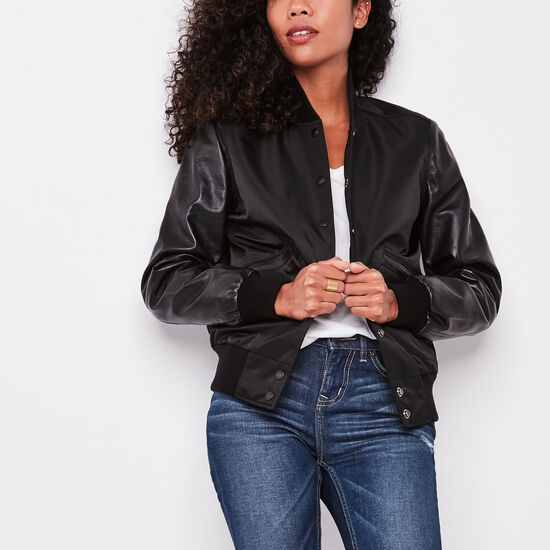 Roots-Leather Women's Leather Jackets-Womens Varsity Jacket Nylon/leather-Black-A