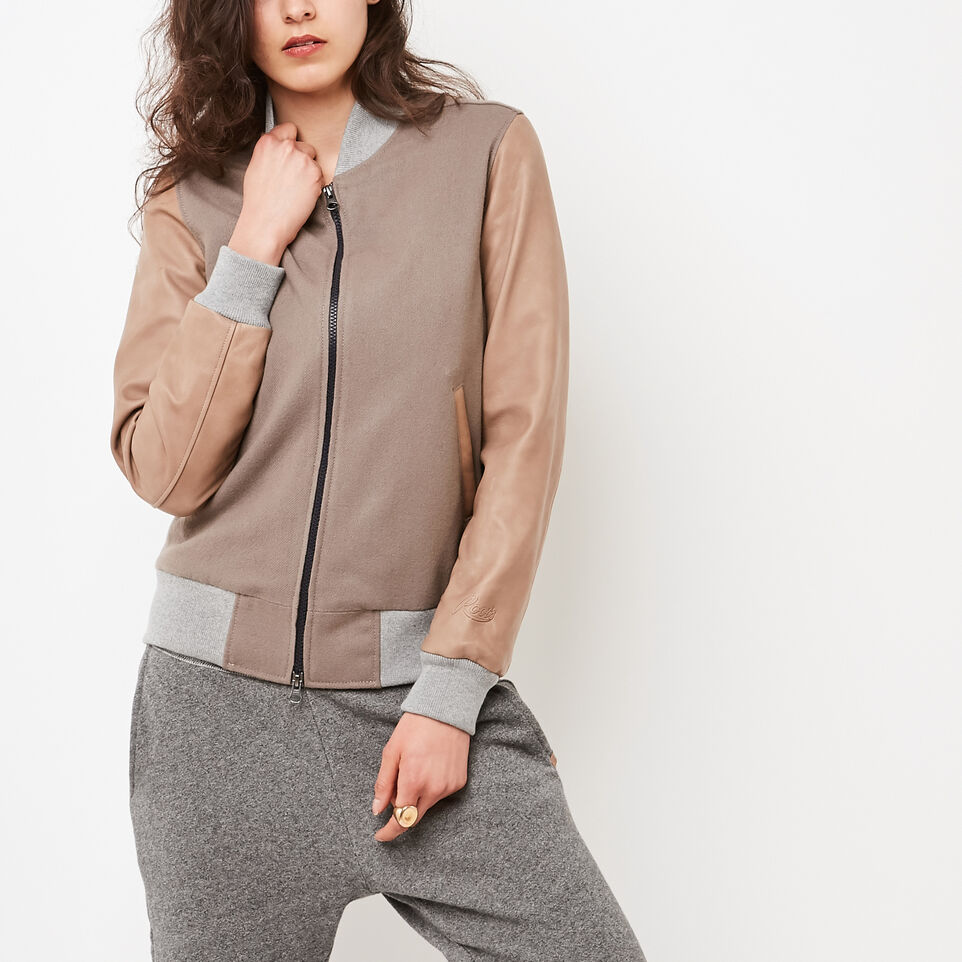 Roots-undefined-Womens Lightweight Jacket Melton/Leather-undefined-D