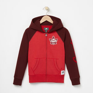 Roots-Kids Tops-Girls Heritage Canada Full Zip Hoody-Sage Red-A