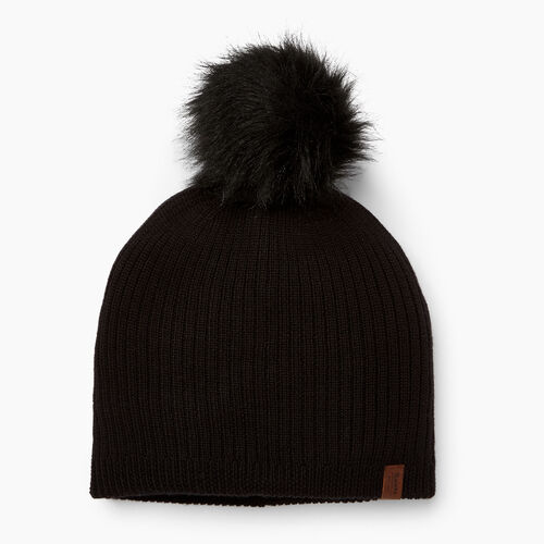 Roots-Clearance Women-Dorval Faux Fur Pom Pom Toque-Black-A