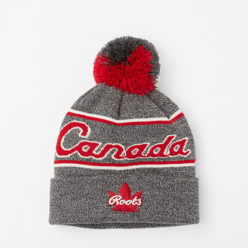 Roots-Sale Accessories-Canada Heritage Pom Pom Toque-Salt & Pepper-A