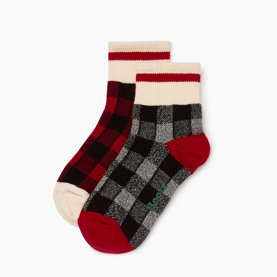 Roots-Women Our Favourite New Arrivals-Park Plaid Ankle Sock 2 Pack-Cabin Red-B