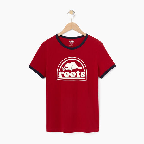 Roots-Sale Women-Womens Roots Vault Ringer T-shirt-Cabin Red-A