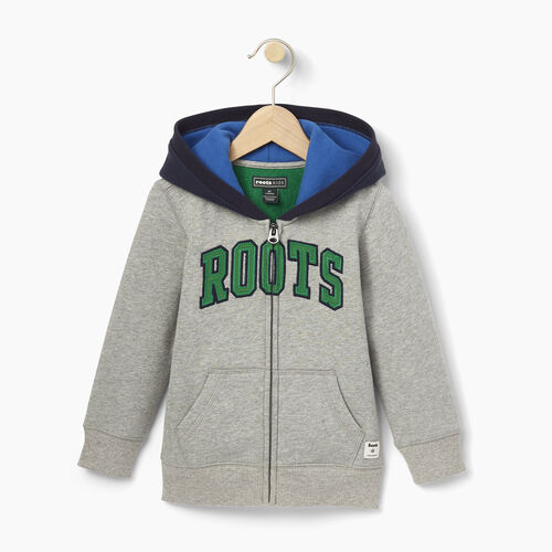 Roots-Clearance Kids-Toddler Plated Fleece Full Zip Hoody-Grey Mix-A