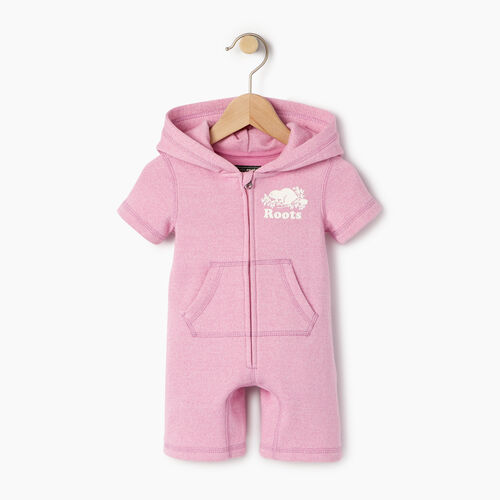 Roots-Kids Sweats-Baby Cooper Beaver Kanga Romper-Pastl Lavender Pper-A