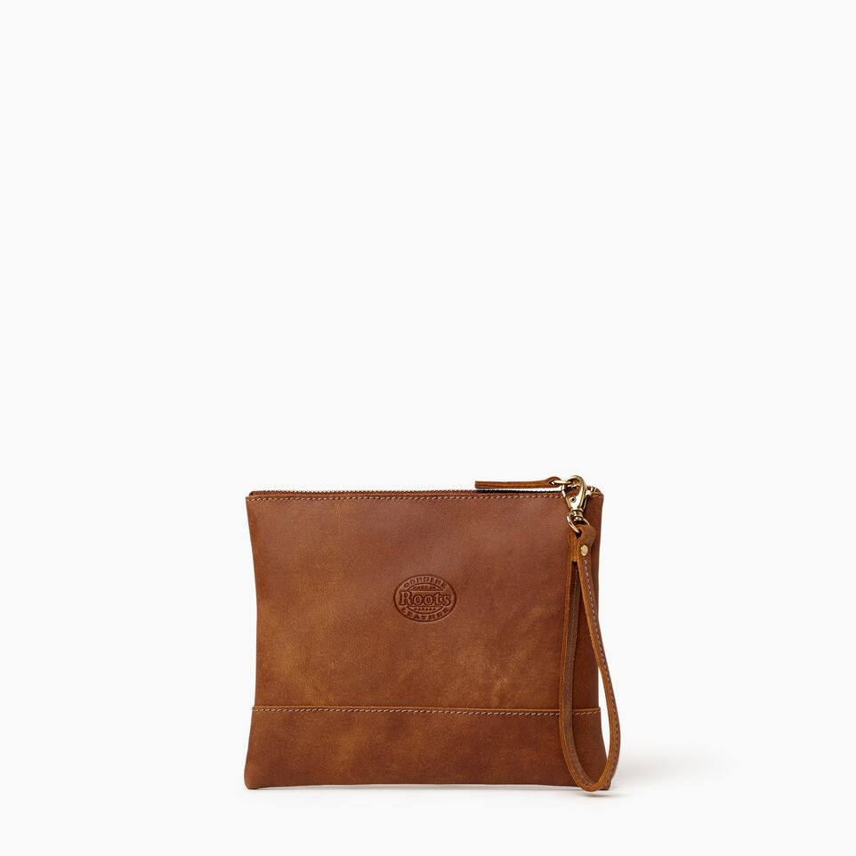 Roots-Leather Categories-Junction Wristlet-Natural-B