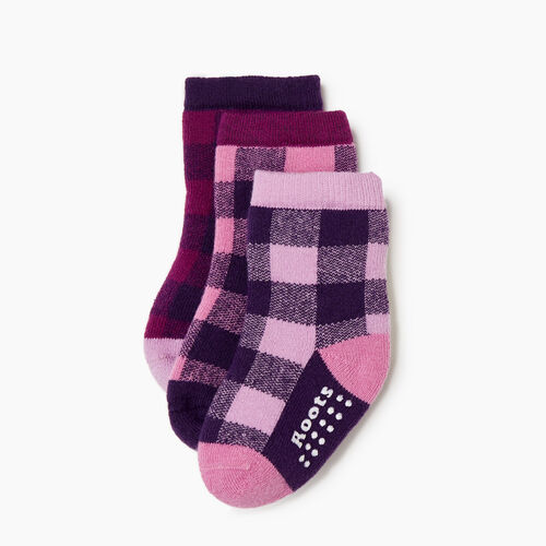 Roots-Kids Our Favourite New Arrivals-Toddler Plaid Sock 3 Pack-Pink-A