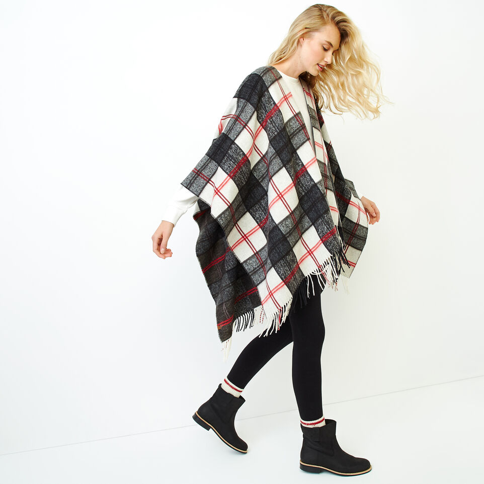 Roots-Women Our Favourite New Arrivals-Smoke Lake Plaid Wrap-Birch White-C