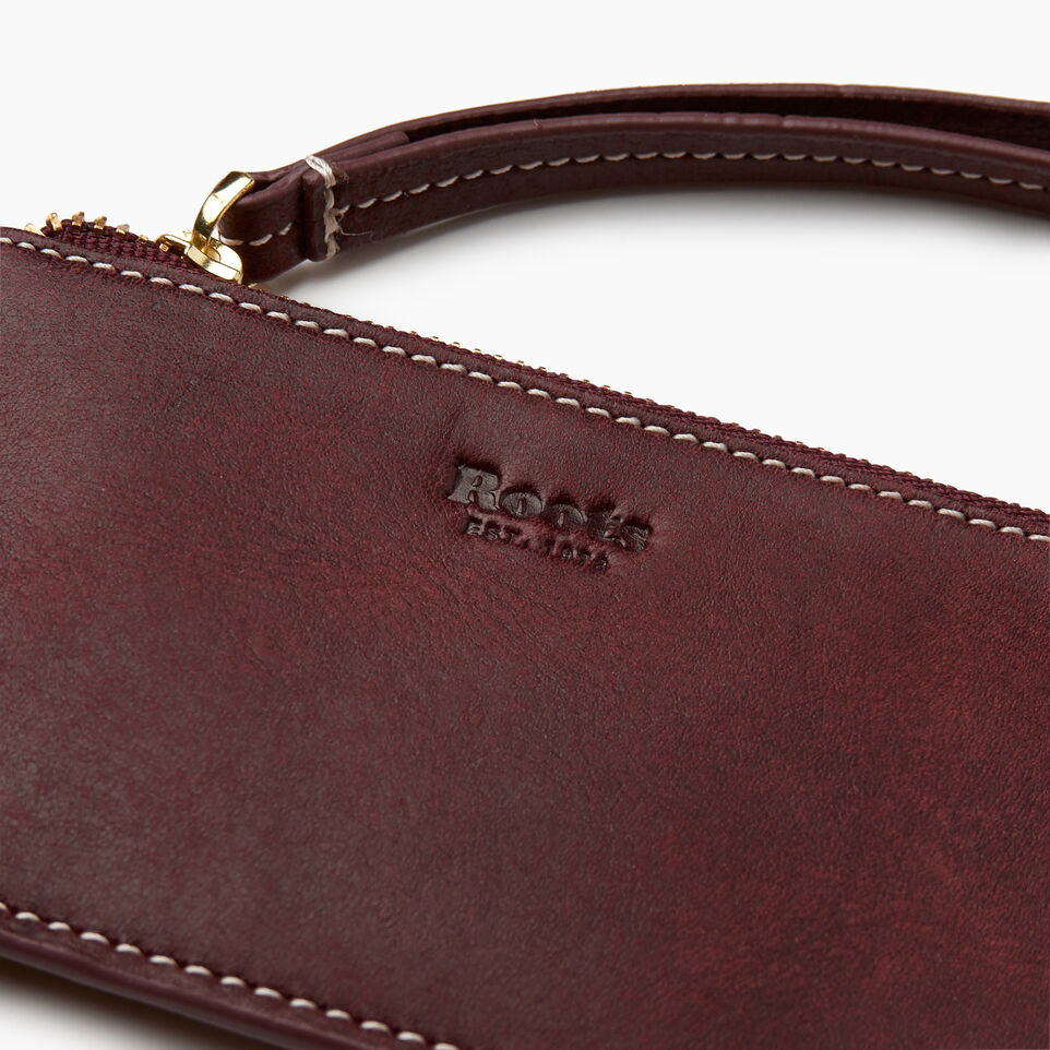 Roots-Women Leather Accessories-Medium Card Wristlet-Crimson-D