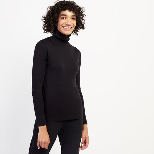 Roots-Women Long Sleeve Tops-Essential Turtleneck Top-Black-A