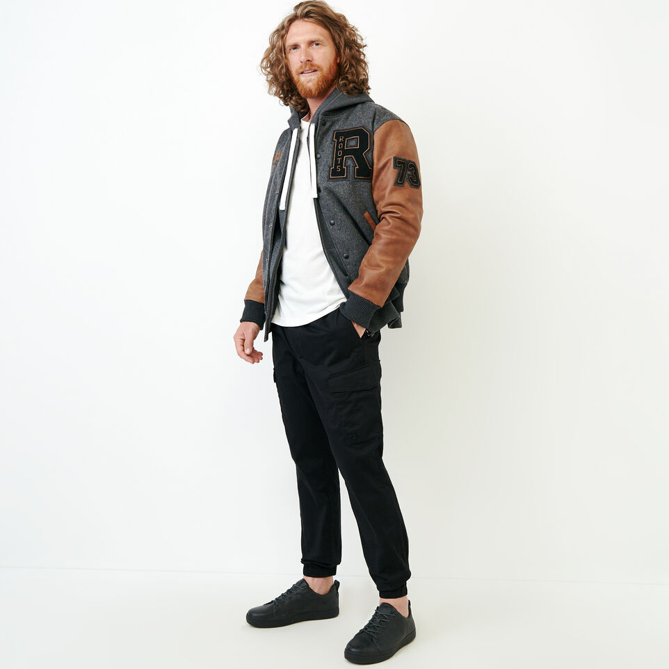 Roots-Leather  Handcrafted By Us Award Jackets-Roots Script Award Jacket-Charcoal-B