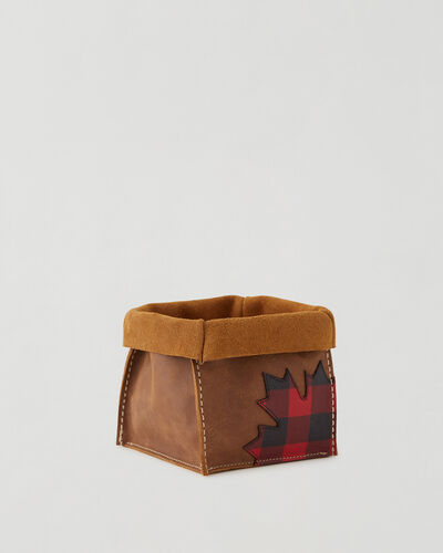 Roots-Leather Leather Accessories-Park Plaid Canada Medium Basket-Natural-A