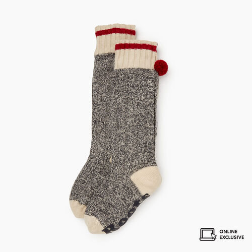 Roots-Gifts Lounge-Womens Roots Cabin Lounge Sock-Grey Oat Mix-A