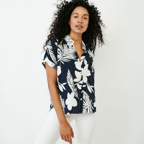 Roots-Women Categories-Alder Flat Aop Shirt-Navy-A