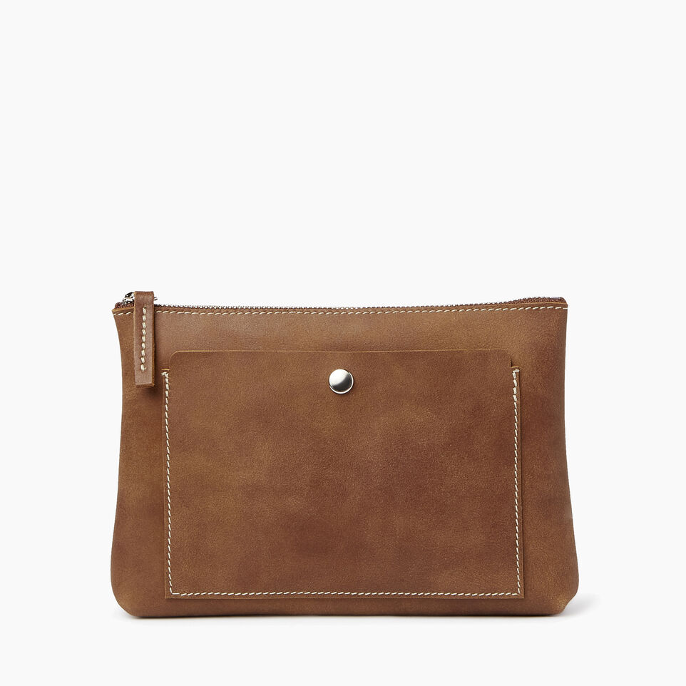 Roots-Leather  Handcrafted By Us Collections-Carrier Pouch-Natural-A
