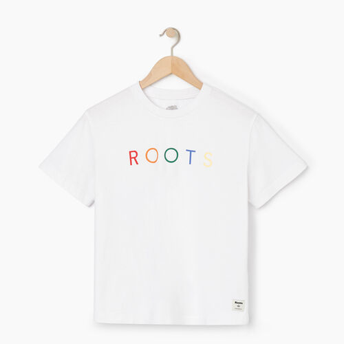 Roots-Women Graphic T-shirts-Womens Spectrum T-shirt-Crisp White-A