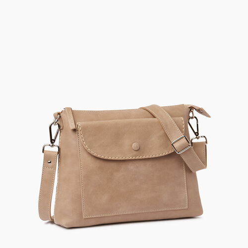 Roots-Clearance Leather-Richmond Crossbody-Sand-A