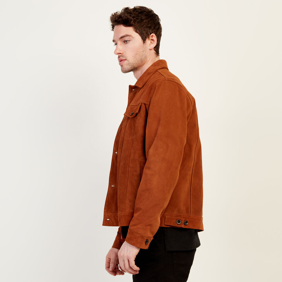 Roots-Leather Leather Jackets-Mens Trucker Jacket Suede-Tan-C