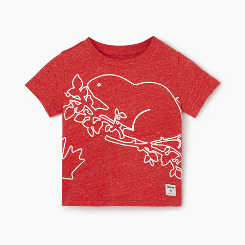 Roots-Kids Baby-Baby Super Cooper T-shirt-Sage Red Mix-A