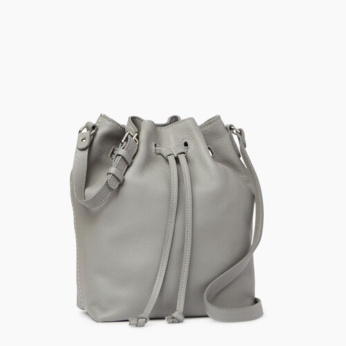 Roots-Leather  Handcrafted By Us Handbags-Sherbrooke Bucket-Silverstone-A