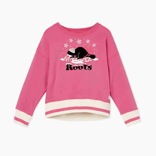 Roots-Sweats Toddler Girls-Toddler Buddy Cozy Crew Sweatshirt-Carmine Rose-A