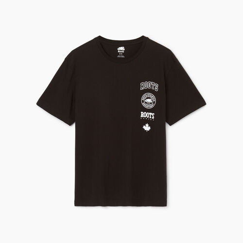 Roots-Men Our Favourite New Arrivals-Mens Stamps T-shirt-Black-A