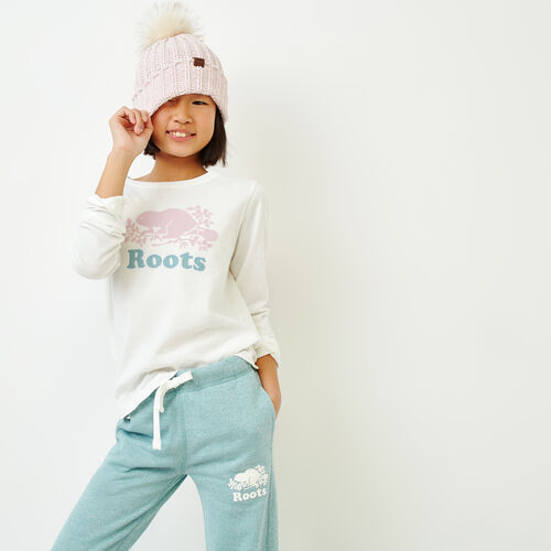 Roots-Sale Kids-Girls Original Cooper Beaver T-shirt-Ivory-A