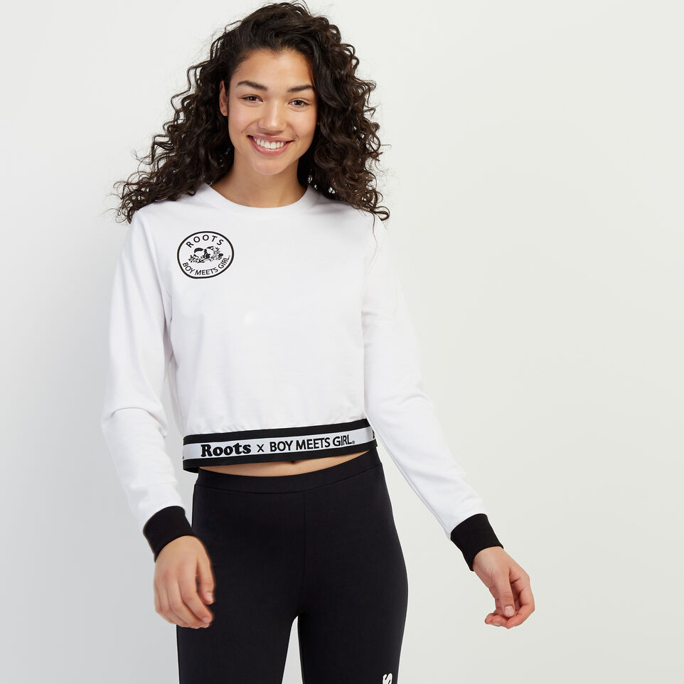 Roots-New For April Roots X Boy Meets Girl-Roots x Boy Meets Girl - United Cropped Top-White-A