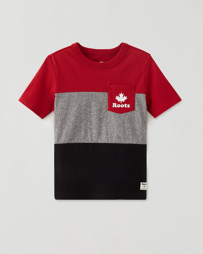 Roots-Kids Tops-Toddler Colour Block T-shirt-Sage Red-A