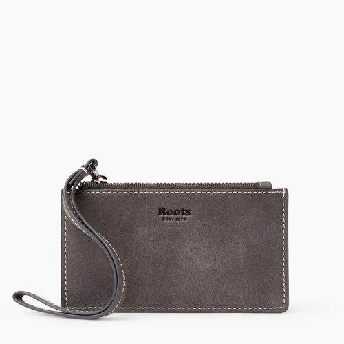 Roots-Leather Leather Accessories-Medium Card Wristlet Tribe-Charcoal-A