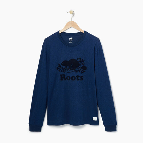 Roots-Men Graphic T-shirts-Mens Cooper Longsleeve T-shirt-Active Blue Pepper-A