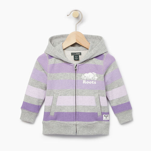 Roots-Kids Baby Girl-Baby Ombre Stripe Full Zip Hoody-Grey Mix-A